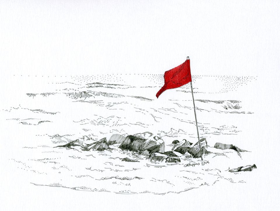 red flag ocean