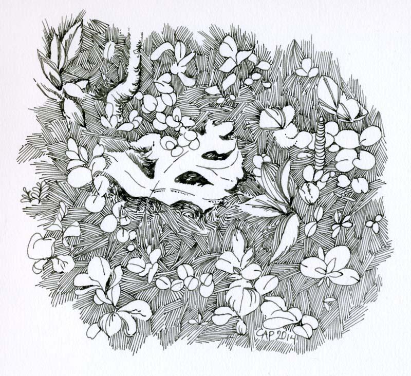ink leaves inktober