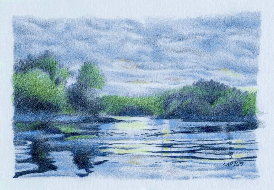 dusk lake drawing
