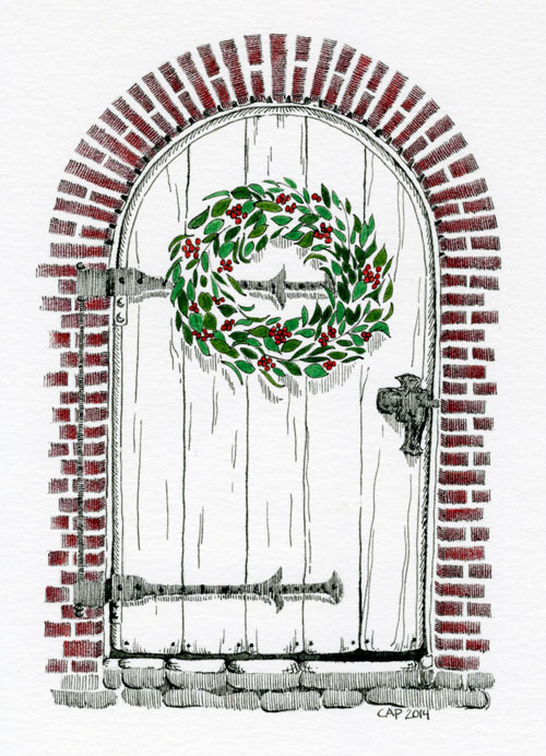 christmas door drawing