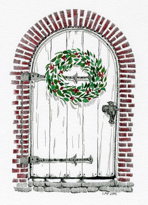 christmas door drawing