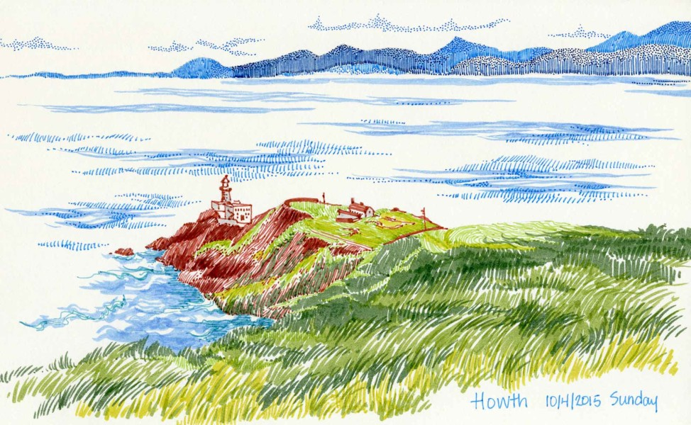 Howth, landscape drawing by Carolyn A Pappas