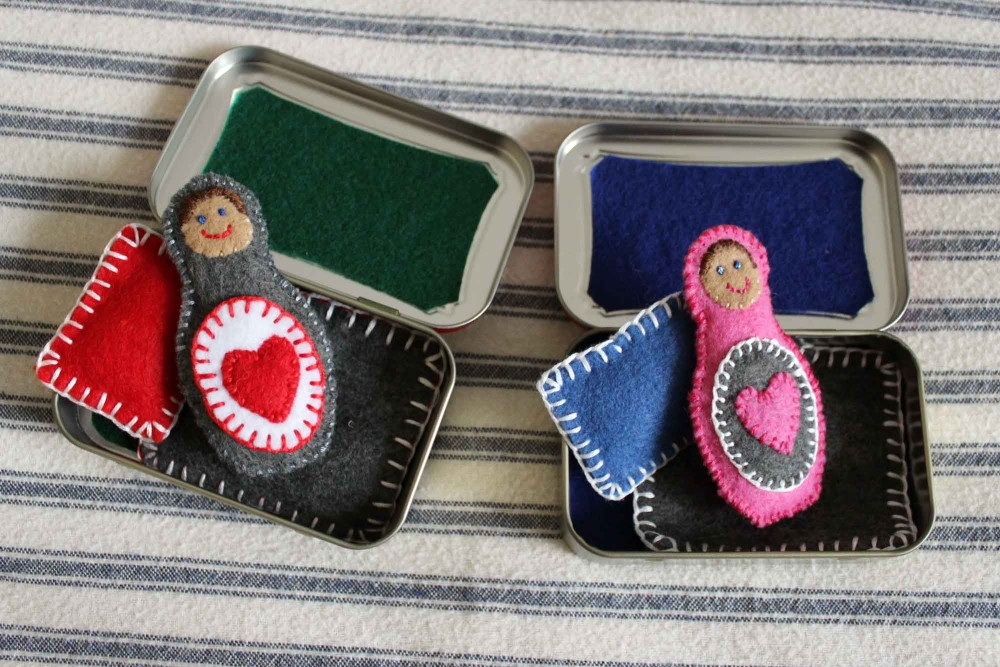 felt doll in Altoids tin