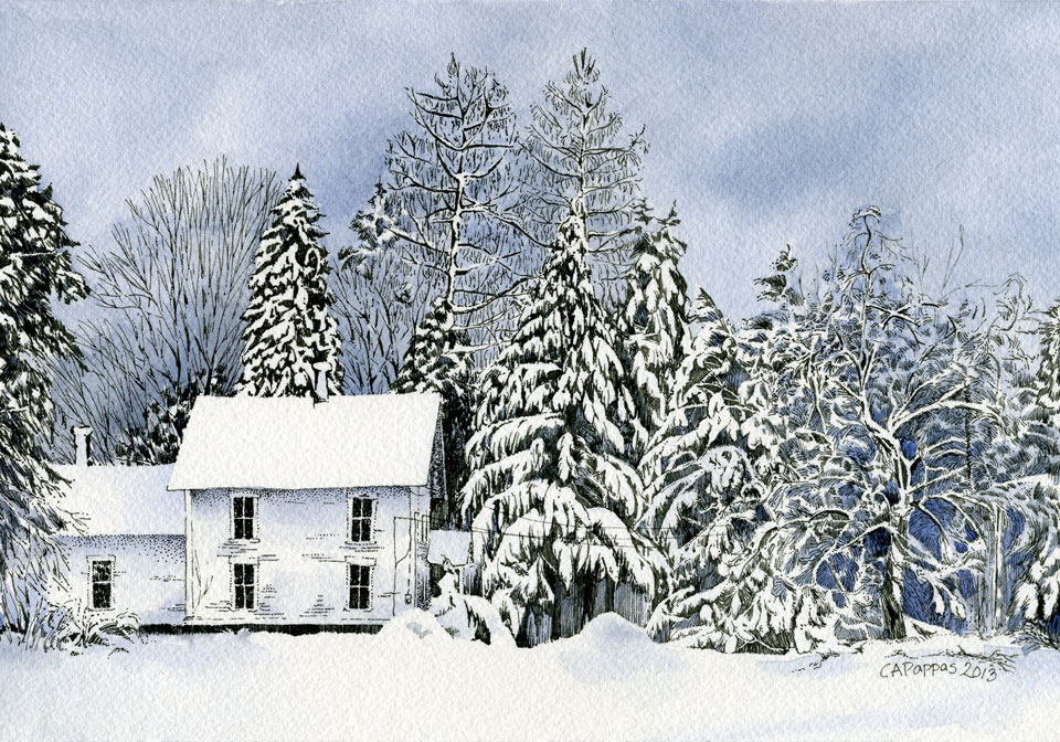 pen and ink watercolor winter