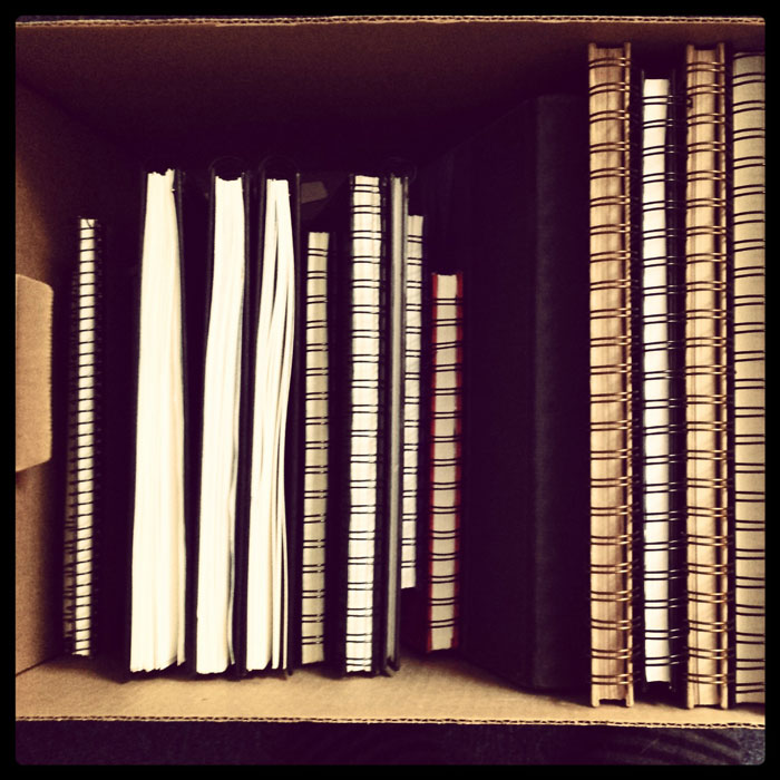 box of sketchbooks
