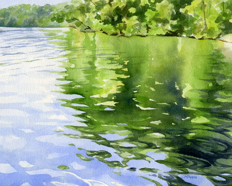 lake watercolor reflection
