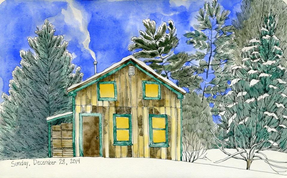 cabin ink watercolor drawing