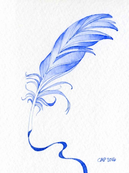 blue feather pen