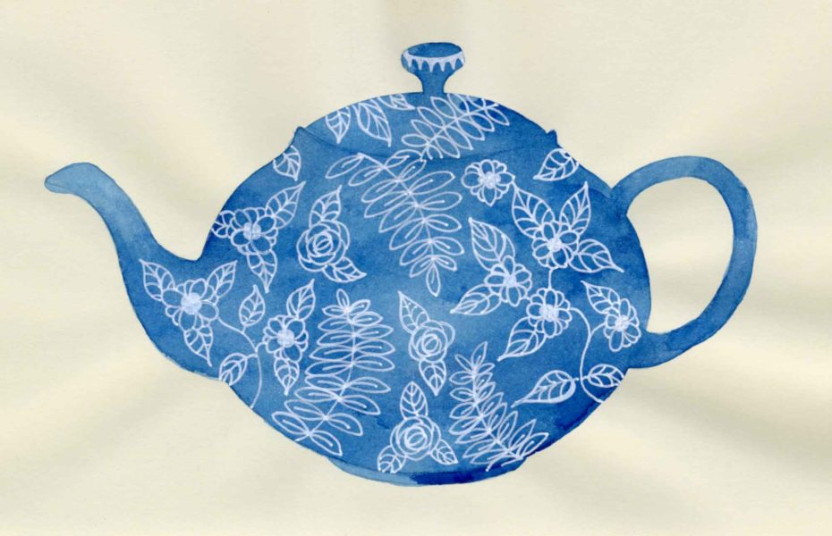 blue teapot design