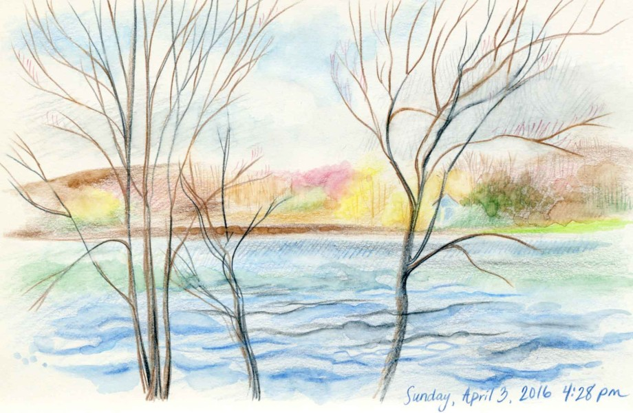 colored pencil landscape sketch