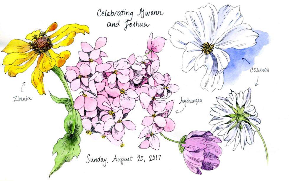 mixed flower sketch